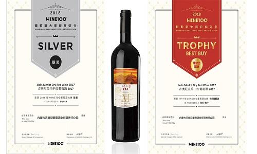 吉奥尼美乐干红葡萄酒喜获WINE100葡萄酒大赛银奖、性价比甄选